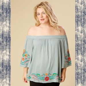 A Beautiful Soul Embroidered Off shoulder top